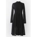 Sexy Black Lace High Neck Keyhole-Back A-Line Dress