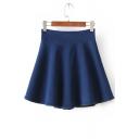 Plain High Waist Zip Back Denim Skater Mini Skirt