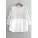 Stripes Patchwork Batwing Dropped Shoulder 3/4 Sleeves Tee
