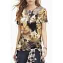 Surprising Cats Print Round Neck Short Sleeve Tee