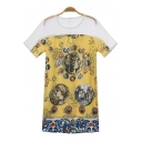 Vintage Scoop Neck Color Block Short Sleeve Character Print Dress