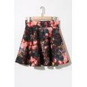 Opulent Bloom Print High Waist Full Skirt