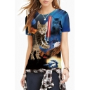Colorful 3D Cat Print Round Neck Short Sleeve Tee