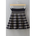 Cross Jacquard High Waist A-Line Stretch Mini Skirt