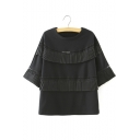Round Neck Hollow Out Pleated Ruffles Detail Sweatshirt