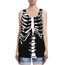 Black Skeleton Print Sleeveless Loose Tank