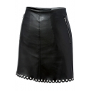 Sexy Black PU /Leather Mini Grommet Hem Zip Embellished Skirt