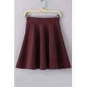 Sweety Plain Mini Elastic Waist Flare Skirt