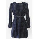 Woolen Contrast Collar Stripes Dress with Waistband