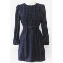 Woolen Contrast Collar Stripes Dress with Waistband