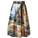 Elastic Waist Rural Landscape Print A-Line Midi Skirt
