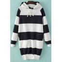 Thick Stripes Color Block Split Side Tunic Hooded Sweatshirt