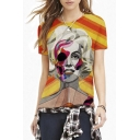 Abstract Lady Print Color Block Short Sleeve Tee