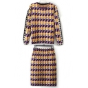 Fashion Light Color Geometric Print Knitted Co-ords