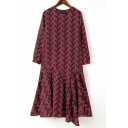 Asymmetric Hem Geo/Geometric Print Round Neck Long Sleeve Dress