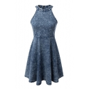 Denim Halter Grommet Zipper Back Skater Dress