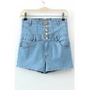 Blue Bleached Button Through Pockets High Waist Denim Shorts