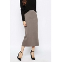 Elegant Plain Split Hem Elastic Waist Lady's Skirts