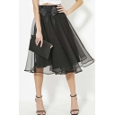 Sweet Chic Bows Embellish Organza Tulle Elastic Waist Skirts
