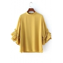 Plain Collared Ruffle Detailed 3/4 Sleeves Blouse