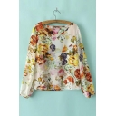 Vintage Floral Print Twist Back Backless Long Sleeve Blouse