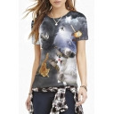 Gray Cat War Print Short Sleeve Pullover Tee