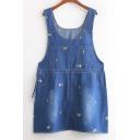 Plain Blue Four Pockets Detail Denim Overall Dress