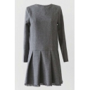 Gray Woolen Raw Edge Patchwork Mini Dress