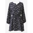 Floral Print V-Neck Sash Long Sleeves Tea-Dress