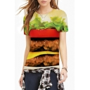 Hamburger Print Round Neck Short Sleeve Slim Tee