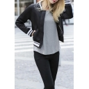 Stripe Trims Black Morden Women's Bomber Jackets