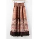 ntage Elastic Waist Paisley Print Tassel Hem Ankle Length Skirts
