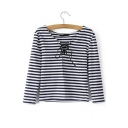 Nautical Stripe Scoop Neck Tie-Front Long Sleeves Tee