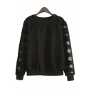 Chic Tulle Round Neck Long Sheer Sleeves Sweatshirts