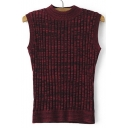 Vertical Stripes Round Neck Sleeveless Tight Knit Vest