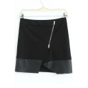 Sexy Mini Sheat Zipper Up Detail Color Block Skirts