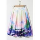 Landscape Print High Waist A-Line Midi Skirt