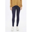 Elastic Waist Plain Skinny Leggings
