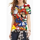 Game Cartoon Print Round Neck Short Sleeve Tee