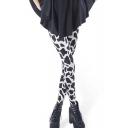 Cow Skin Print Color Block Stretch Skinny Leggings