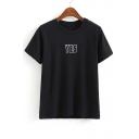 Round Neck Letter Print Short Sleeves Loose Fit T-Shirt