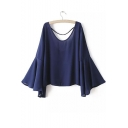 Plain Scoop Neck Backless Flared Sleeve Loose Blouse