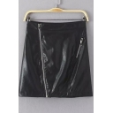 Black High Waist Asymmetrical Zipper Detail PU Skirt