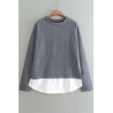 Spring False Two Pinstripe Patchwork Long Sleeves Tee