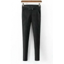 Black Sheath Striped Bow Pocket Embellished Pants