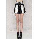 Chic Mini Color Block A-Line Girls Skirts