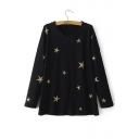 Black Gilded Star Loose V-Neck Batwing Long Sleeve Sweater