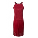 Plain Spaghetti Straps Suede Tassel Hem Zipper Back Cami Dress