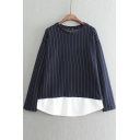 Stripes Patchwork False Two-Piece Loose Long Sleeve Tee