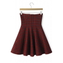 High Waist Stretch A-Line Mini Knit Skater Skirt